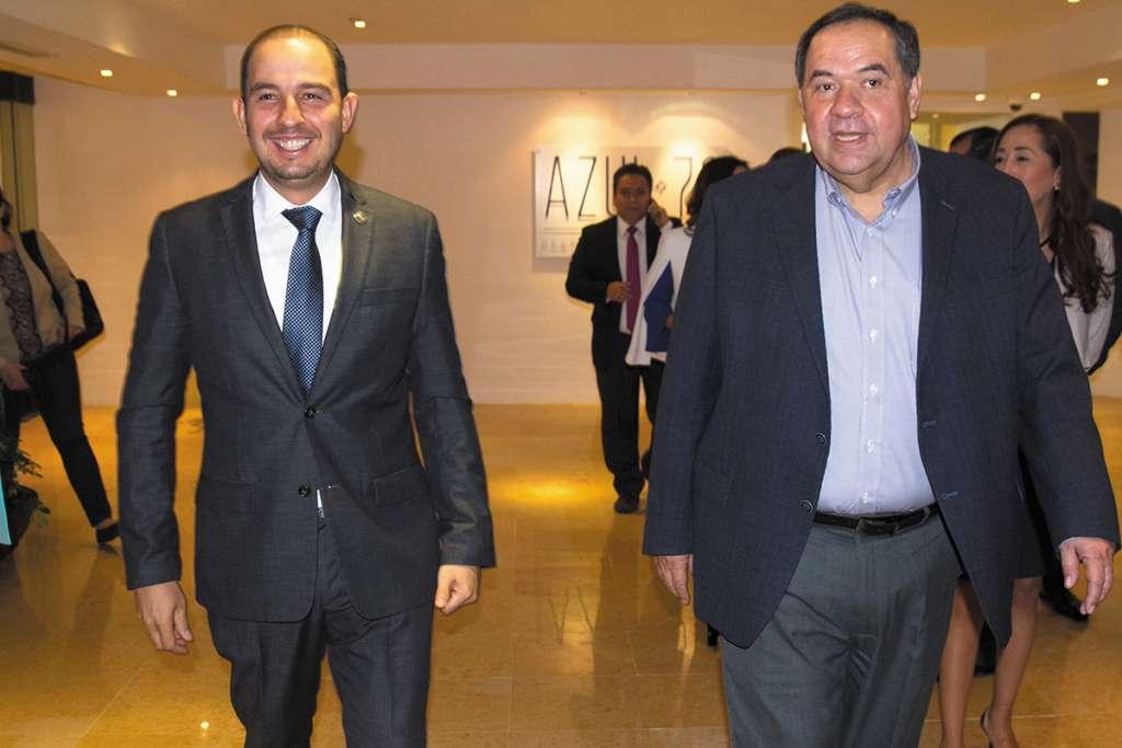 Los panistas Marko Cortés (izq.) y Héctor Larios (der.).FOTO: ESPECIAL