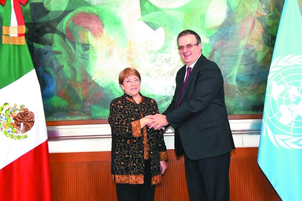 Michelle Bachelet y Marcelo Ebrard, ayer en la sede de la cancillería.FOTO: ESPECIAL