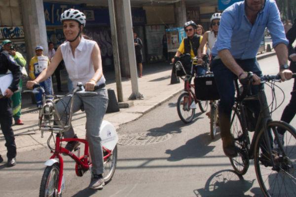 Claudia Sheinbaum hizo un recorrido en bicicleta desde la fuente de la Diana Cazadora hasta el Museo de Antropología. Foto: Cuartoscuro