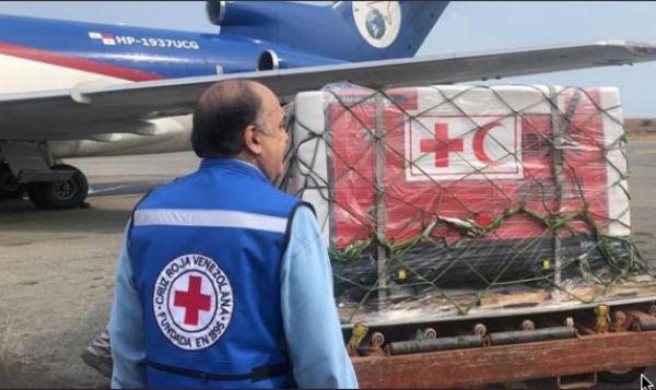 El primer cargamento de ayuda humanitaria recibido por venezuela fue coordinado por voluntarios de la Cruz Roja. FOTO: ESPECIAL