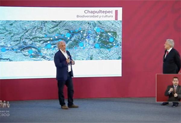En su conferencia matutina desde Palacio Nacional, el mandatario federal indicó quecon la adhesión de Los Pinos y el predio de la Defensa Nacional se tendrán 800 hectáreas
