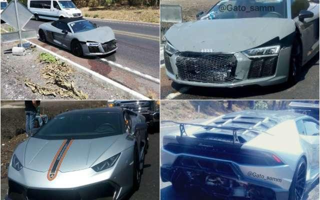 Los autos formaban parte de una caravana y el choque se presentó cuando el conductor del Audi R8 no pudo frenar a tiempo