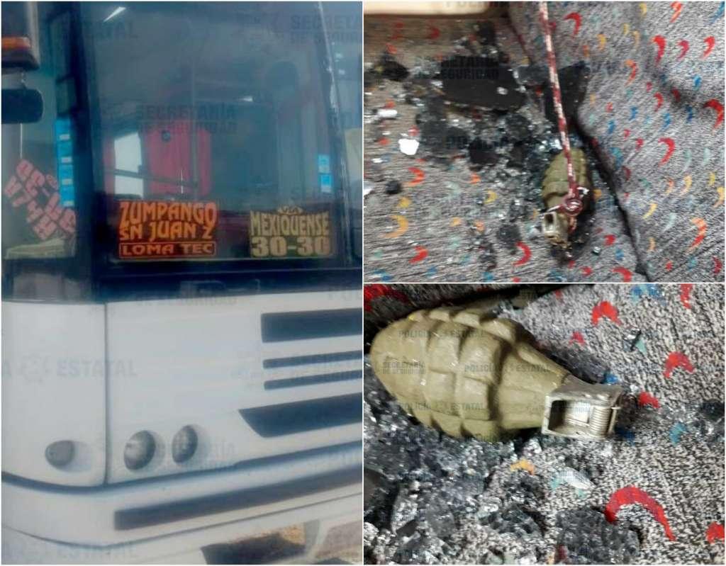 La unidad donde cayó la granada es de una ruta que se dirige de Zumpango al metro Indios Verdes