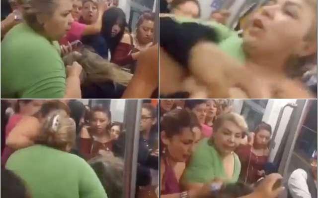 Finalmente, la mujer de verde lleva del cabello a la agredida hasta el andén, sin que ninguna autoridad intervenga hasta ese momento
