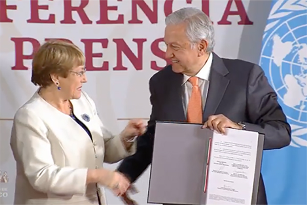 Por su parte, Michelle Bachelet puso a disposición de México el conocimiento y experiencia de la oficina de la ONU en el país.