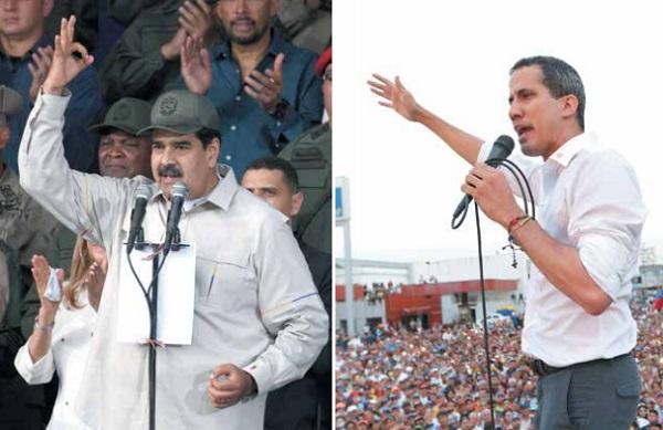 APOYOS. Maduro pidió a sus milicias producir alimentos; Guaidó llamó a seguir con la presión en las calles. Foto: AFP Y AP