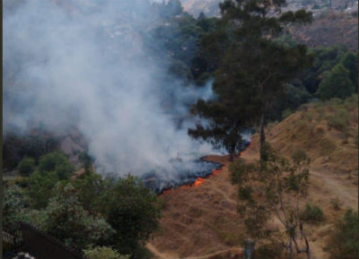 El incendio se registra al interior de la Zona Forestal de La Herradura. FOTO: @HuixquiGob