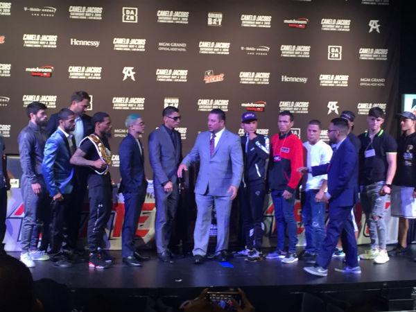 La última conferencia de prensa de la pelea de Canelo vs. Jacobs fue realizada en Las Vegas. FOTO: ESPECIAL