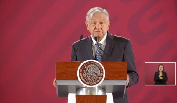 El mandatario en la conferencia mañanera de este 3 de mayo. Foto: Presidencia.