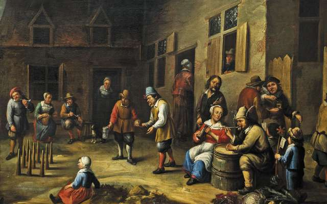 Una de las obras más antiguas que se exhiben, muestra a un grupo de personas divirtiéndose mientras juegan a los bolos. FOTO: CORTESÍA