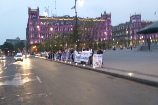 La protesta se desarrolla sin afectar la circulación en la zona. Foto: @vialhermes