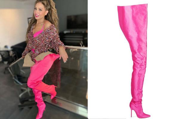 Este mismo diseño de calzado también lo lució la socialité Kim Kardashian. Foto: Instagram thalia/ZCRAVE
