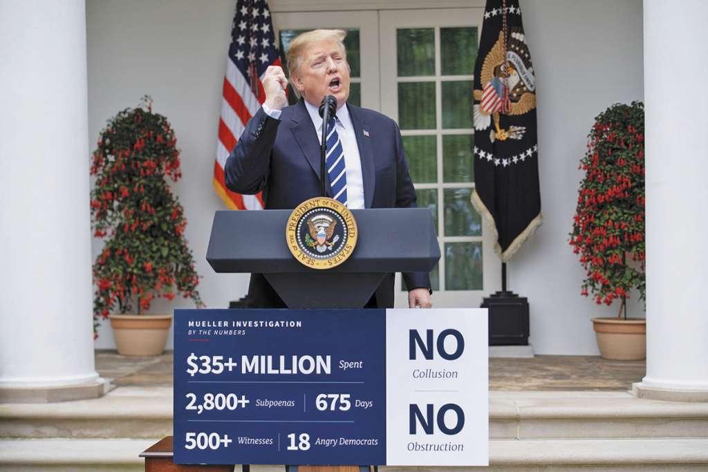 Trump mostró estadísticas del costo de la investigación de Robert Mueller.FOTO: ESPECIAL
