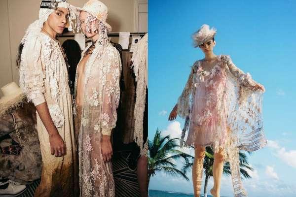 Las prendas cuentan con morfologías femeninas bien definidas, pasamanerías en algodón puro, tejidos crudos en tonos pastel, off-white y encajes. Foto: Especial