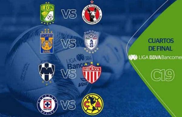 Estos son los duelos correspondientes a los cuartos de final del Torneo Clausura 2019. FOTO: @LIGABancomerMX