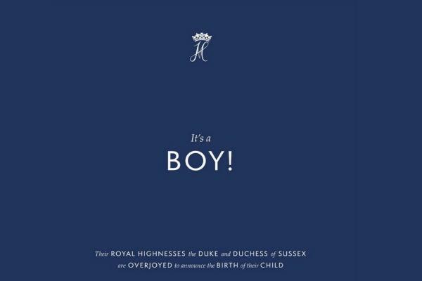 El bebé nació a las 4:26 horas de hoy y pesó al nacer 3,3 kilos, de acuerdo con el Palacio de Buckingham. Foto: Instagram sussexroyal