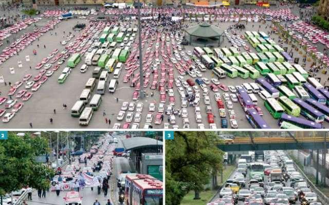 A la protesta se sumaron Rutas Unidas, Frente Único de Trabajadores del Volante y el Consejo Empresarial del Transporte.FOTO: ESPECIAL