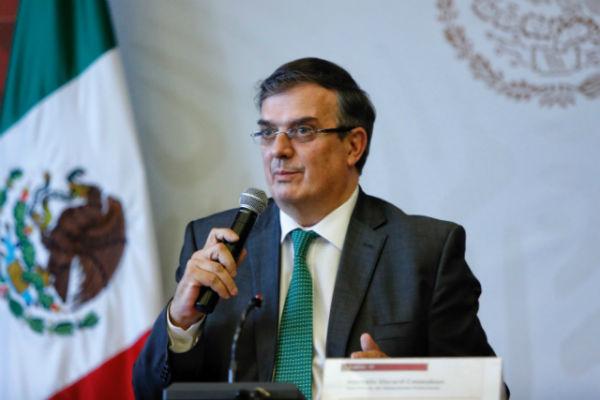 El Canciller durante conferencia de prensa. Foto: Nayeli Cruz.