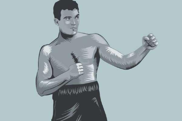 Jim Jaffries, excampeón mundial de peso completo. Ilustración: Allan G. Ramírez