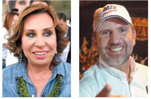 Sandra Julieta Torres Casanova y Roberto Arzú se perlan para la segunda vuelta electoral por la Presidencia. Foto: AP