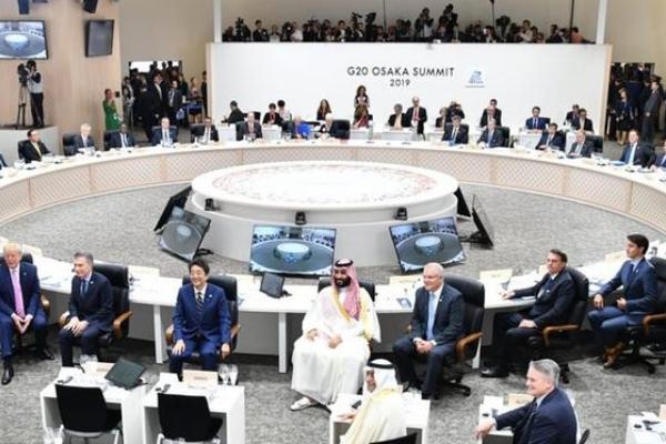 G20. Jefes de Estado y de Gobierno en Osaka, Japón, entre ellos, Marcelo Ebrard y Carlos Urzúa. Foto: AP