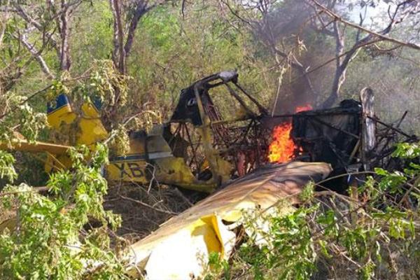 Avioneta fumigadora se desploma en Colima