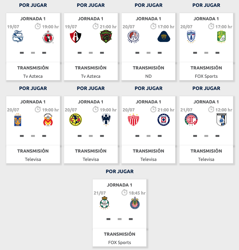 Julio Calendario 2019.Calendario Liga Mx Apertura 2019 Partidos Horarios Y Donde Ver