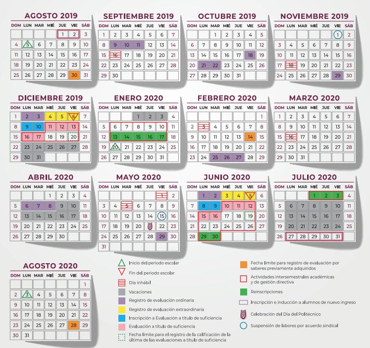 Calendario Escolar 2020 Sep Cdmx.Calendario Ipn Ciclo Escolar 2019 2020 Inicio De Clases