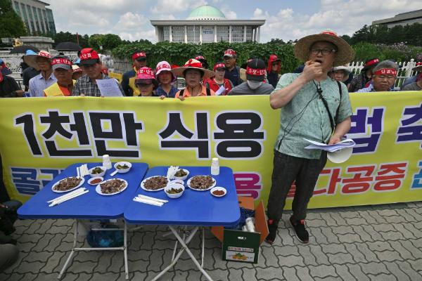 Varias personas se manifestaron en contra del consumo de carne de perro. Foto: AP.