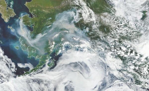 Las altas temperaturas al inicio del verano están favoreciendo los incendios en Alaska. Foto: Nasa