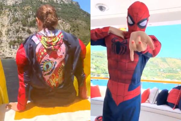 Thalía compartió  con sus seguidores imágenes de cómo se veía disfrazada de Spider-man.