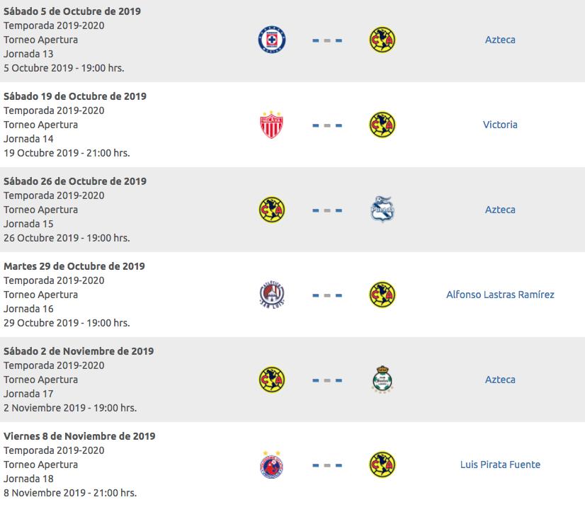 Calendario 2020 Liga Adelante.Calendario Club America Apertura 2019 Horarios Fechas Y