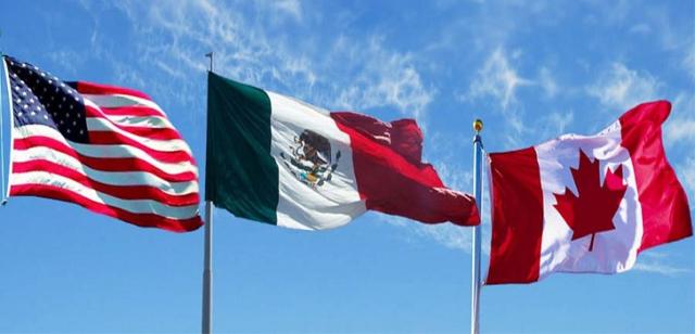 Banderas de los países involucrados en el T-MEC
