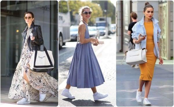 La Moda De Llevar Vestidos Con Tenis