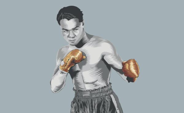 Henry Armstrong campeón de peso pluma, wélter y ligero. Ilustración: Allan G. Ramírez