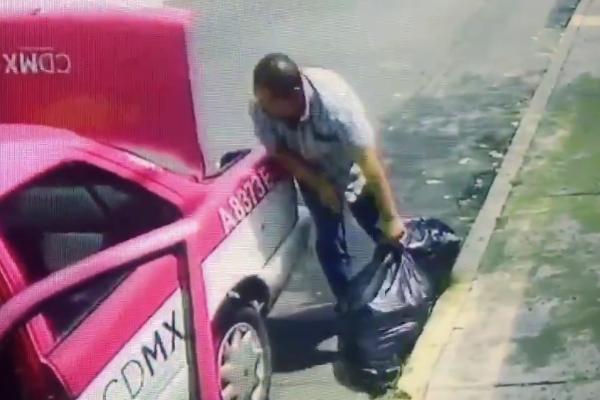 Taxista-deja-basura-Huipulco-Tlalpan-CDMX-VIDEO