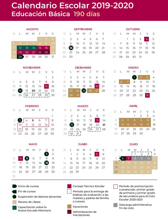 Calendario Escolar 2020 Sep Cdmx.Calendario Escolar 2019 2020 Inicio De Clases Puentes