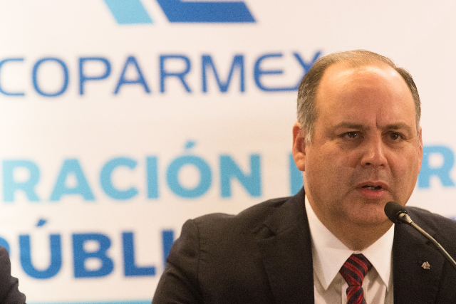 Gustavo de Hoyos Walther, presidente de la Coparmex, durante conferencia de prensa. FOTO: Cuartoscuro.