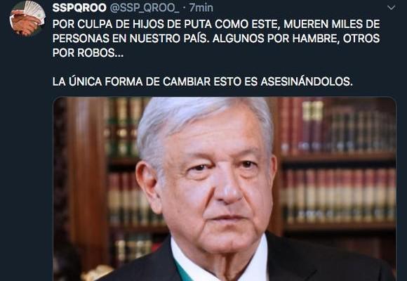 Cuenta_SSP_QRoo_hackeada_amenazan_López_Obrador