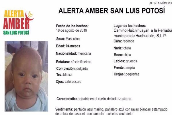 El recién nacido identificado como Luis Fernando Perales Alonso tiene cabello color castaño claro, ojos café oscuros y una cicatriz en el cuello de lado izquierdo. Foto: Twitter