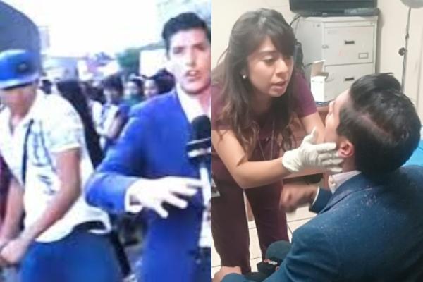 Reportero agredido durante marcha. Foto: Especial.