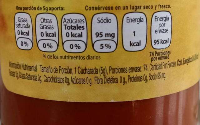 Etiqueta con información nutricional. FOTO: ESPECIAL