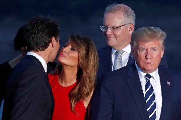 Trudeau, Melania y Donald Trump en el G7. Foto: EFE