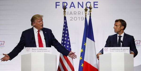 ACTORES. El presidente Trump y su par francés, Macron cerraron el G7 con una conferencia. Foto: REUTERS