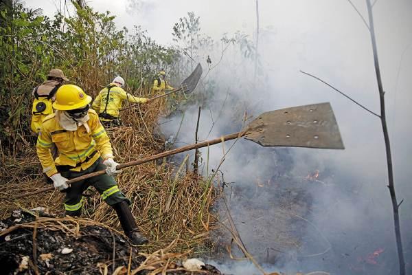 DESASTRE. Bomberos combatieron las llamas en el Bosque Nacional Jacunda, Brasil. Foto: AP