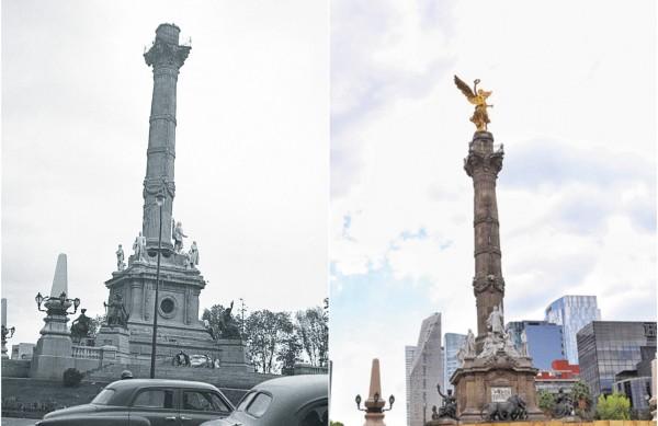 REPITE. En 1957, el Ángel de la Independencia se cayó debido a un sismo ocurrido en julio (izquier- da) mientras que este año, la escultura está cerrada al público por un proyecto de reparación (derecha). Fotos: Especial y Víctor Gahbler