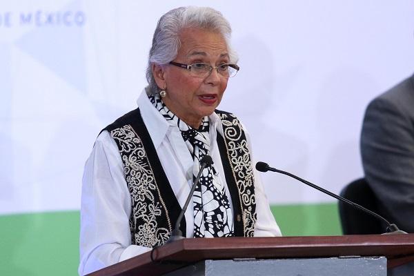 Olga Sánchez Cordero, secretaria de Gobernación, durante la inauguración del XLII Congreso Nacional de Tribunales Superiores. Foto: Especial