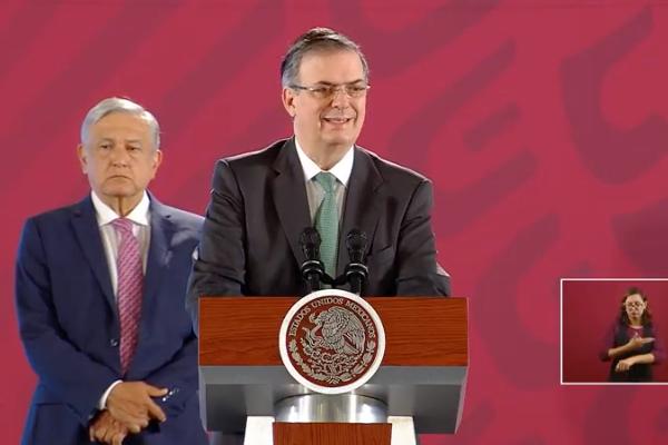 El secretario de Relaciones Exteriores presenta resultados del acuerdo migratorio. Foto: Especial