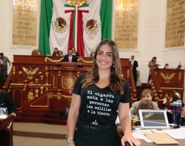 Alessandra Rojo, PVEM, colillas, cigarro, multas,