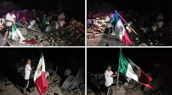 Sismo_Juchitán_hombre_hizó_bandera_México